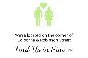 We're located on the corner of Colborne and Robinson St.